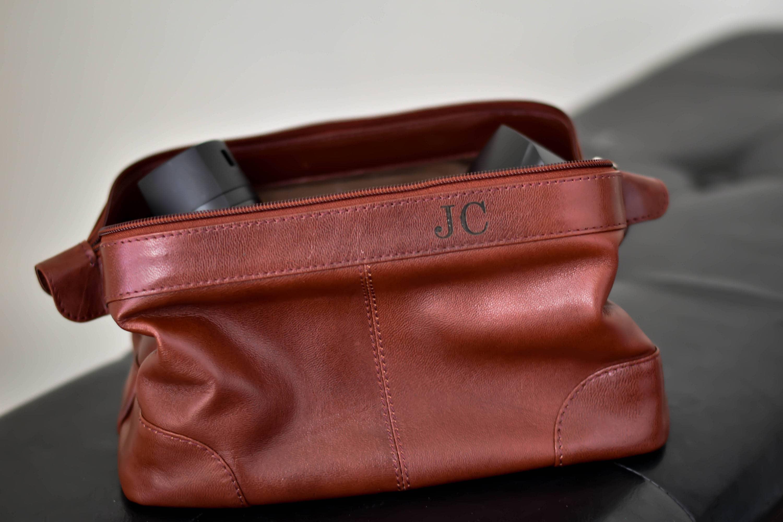 Monogrammed Dopp Kit Leather Toiletry Bag Mens Custom Dopp Kit