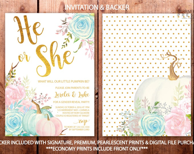 Fall Gender Reveal Invitation / Pumpkin Gender Reveal / He or She invitation / Pink / Blue / Little Pumpkin /Gold // CARMEL COLLECTION