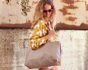 Sale!!! Beige leather tote bag Large Leather handbag Gray beige Leather bucket bag Soft gray beige Tote, Wide roomy handmade with love!
