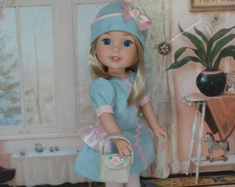 Handmade Tea Party Dress, Hat and Purse to fit 14.5 in Dolls such as wellie wishers doll clothes