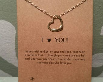 I love you heart charm necklace