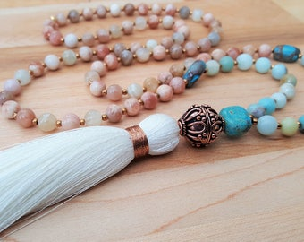 Amazonite Sunstone Jasper Copper White Silk Tassel Necklace / Beaded Necklace / Boho Luxe /  Tassel Necklace / Gemstone Necklace