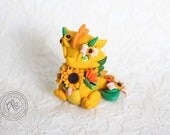 Cute Polymer Clay Dragon Sculpture - chubby dragon figurine with flowers - miniature clay dragon