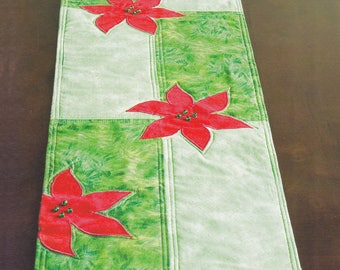 Handmade Quilted Appliqué Poinsettia Christmas Quilted Table Runner - Red Green - Beaded Fringe
