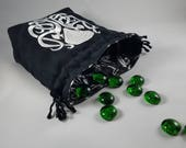 NEW SIZE! Exclusive Knotwork Cthulhu Large Drawstring Tile/Dice Bag - Amazing Cthulhu Lining! Made to Order