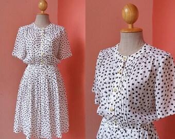 Vintage 80s Dress 1980s Dress Summer Dress Womens Sundress Day Dress Black Polka Dot Dress White Japanese Dress Mini Dress With Short Sleeve