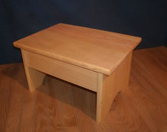WIDE wood step stool, 7 1/2' wooden step stool,rustic wooden stool, adult step stool.wood bench, step stool,
