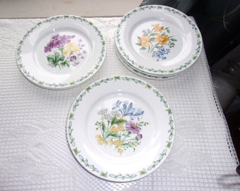 "Thomson Pottery Floral Gardens 3 Salad Plates Pottery - 1 Yellow Daffodil/1 Blue Iris/1 Purple Geraniums 7-3/8"" Wide"