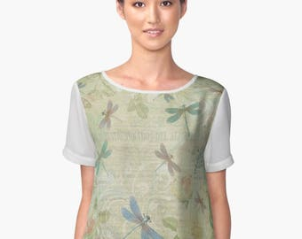 Dragonfly Clothing, Dragonflies Clothes, Dragonfly Top, Pastel Womens Top, Chiffon Clothing