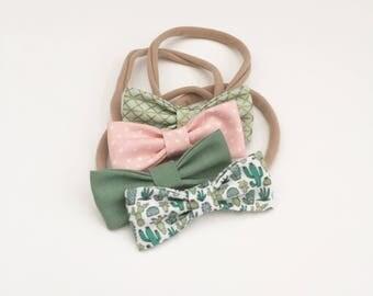 NEW Cactus Love MINI Girls Hair Bows - Set of Four (4) // Girls Bows - Baby Girl Hair Bows / Newborn - Toddler Bows.