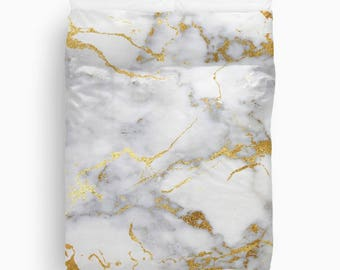 Marble, Gold Duvet Cover, Girls Bedding, Teen Room Decor, Dorm Bedding, Girls Bedroom Decor, Tween Girls, Twin Duvet Cover, Queen, King
