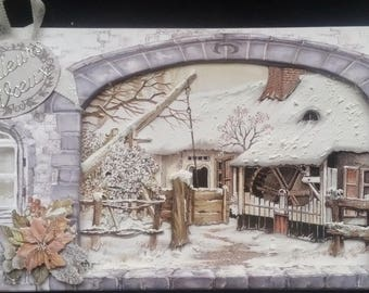 "card scrap, 3d landscape of winter, ""best wishes"" 1 tag"