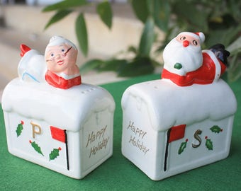 HTF Vintage Tilso Santa Mrs. on Mailbox Salt & Pepper Shakers Figurines Japan Christmas Decorations Collectibles Mid Century