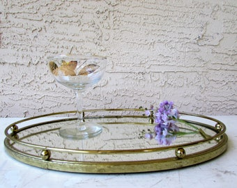 Mid Century Mirror and Brass Vanity Tray - Serving Tray - Vanity Tray - Mirror Tray - Oval Mirror Tray - Brass Side Rail -