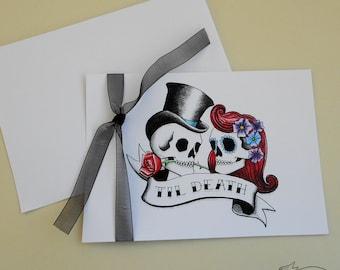 SAMPLE Rockabilly Skulls and Swallows Tattoo Wedding Invitation & RSVP Card Suite