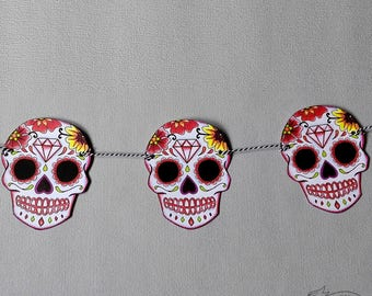 Sugar Skull Bunting Red Wedding Party Decoration Tattoo Rockabilly Party Day of the dead candy skull garland