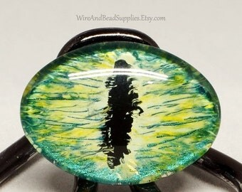SALE - 10% Off - Green Dragon Eye Cabochon  Glass Eye 25x18mm Round Hand Painted
