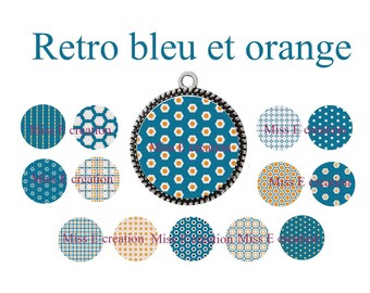 Blue orange retro 25mm and 20mm and 18mm round cabochon digital collage sheet