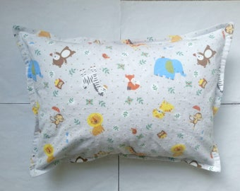 zoo animals flannel toddler pillow case kid pillow case child pillow case travel