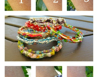 """Bracelet """"Olé"""", Japanese beads and cord liberty of London."""