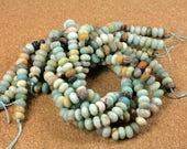 Amazonite Matte Rondelle Beads - Smooth Matte Teal Beads, 8mm
