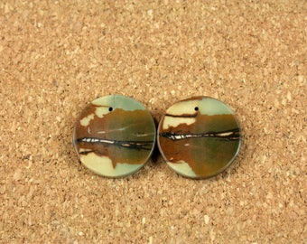 Red Creek Jasper Round Earring Pair - Yellow Green and Brown Smooth Circle Front Drilled Matched Pair