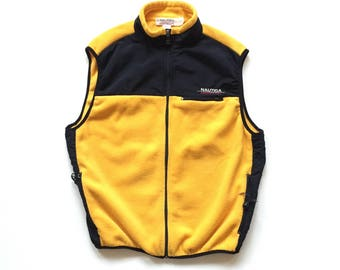 Vintage nautica competition fleece vest size xl made in usa polyester yellow black nautica spell out full zip vest