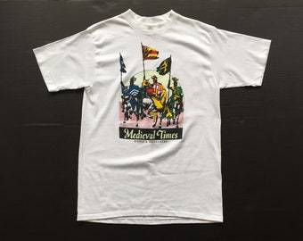 Vintage Medieval times Short Sleeve T Shirt 50 50 paper thin tee shirt single stitch Cotton Polyester made in usa deadstock new white large