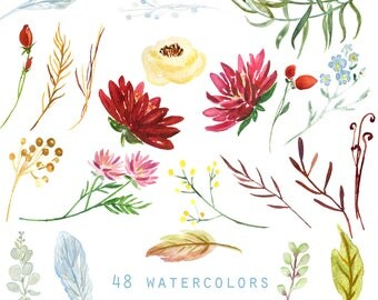Marsala, burgundy dahlia and soft blue flowers watercolor clipart. Soft blue elements floral. Wedding invitations. Dahlias and roses