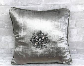 silver pillow,grey velvet pillow,holiday pillow,embellished pillow,snowflake pillow,christmas pillow,christmas tree pillow,jeweled pillow
