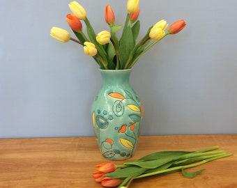 Handmade Flower Vase with Leaf Deco. Glazed in Aqua. MA125