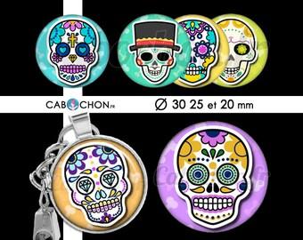 Mexican Skull lV • 45 Images Digitales RONDES 30 25 et 20 mm digital sheet sugar skulls mexicana crane tete de mort muerte printable