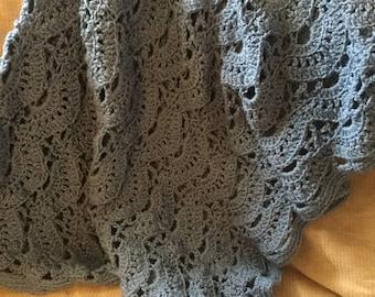 Country Blue Fan Blanket— Rows of Fans—Hand Crocheted