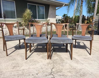 Mid Century Modern walnut dining chairs by United Furniture Corp.