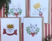 Cute cat and dog christmas mini cards, pack of 4 (c7)cards