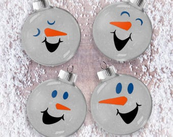 Snow People Glitter Ornament Set of Four,  Shatter Resistant Glass, Glittered Bauble Gift Idea, Snowman Glittered Tree Set