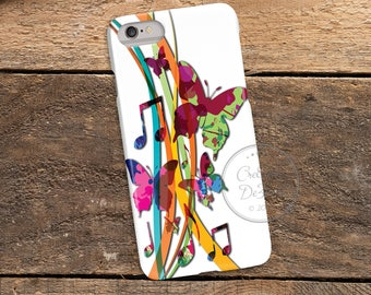 Musical Butterfly Watercolor, 3D Phone Case, Iphone 6 7 7+ Samsung Galaxy S5 Thin Hard Case, Personalized Mobile Full Wrap