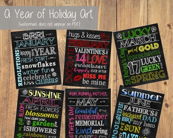 Holiday Art PRINTABLE - Holiday Decor - Holiday Gifts - Subway Art Chalkboard Prints - Holiday signs - Chalkboard Art