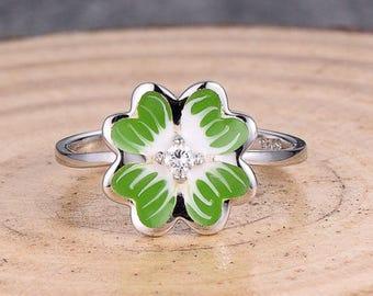 Engagement Ring, 14K White Gold Enamel Ring, Solid 14K White Gold Ring / Fashion Ring / Diamond Ring