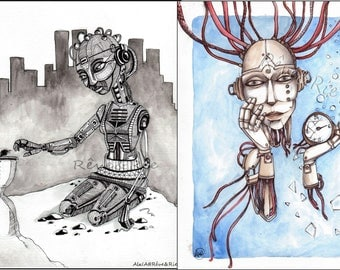ORIGINAL drawings with watercolors and markers, Futurist/fantasy Art, A4 format: louse in time