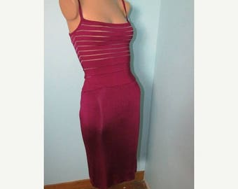 ON SALE Vintage 1990's Herver Leger Raspberry Bandage Dress Size 2 Made in France