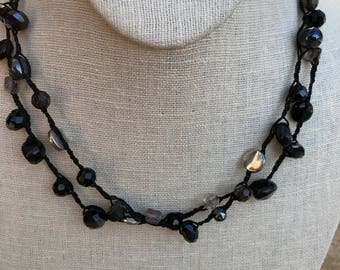 Hand Tied Black Bead and Crystal Necklace