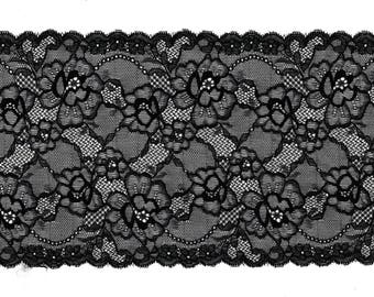 Stretch black floral Stretch Lace Flower Calais Black CALAIS lace design trim 17 cm x 1.35 m