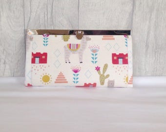 Clutch Purse, Wallet, Evening bag, Llama, Cactus, Mexican, Cream, Coin purse, Credit Card Holder, gift for her, womans gift, womans purse