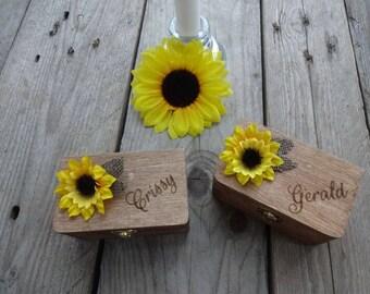 Individualized Ring Bearer Box Set Sunflower - Wedding / Ring Bearer Box / Ring Pillow