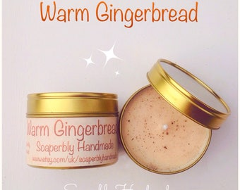 Warm Gingerbread scented soy wax candle in a tin