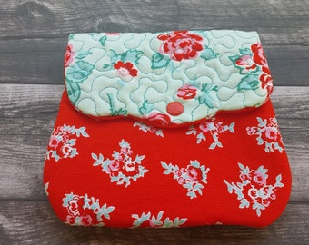Handmade quilted cell phone purse - cell phone purse - quilted purse - red and teal blue!