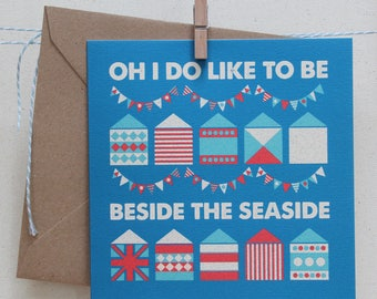 Oh I Do Like to Be Beside the Seaside, blank greetings card. Ocean inspired illustrated stationery designed in Cornwall.