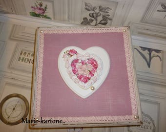 """Sewing box shabby vintage""""the heart of Roses"""" box for keepsakes, watches or jewelry for woman or girl"""