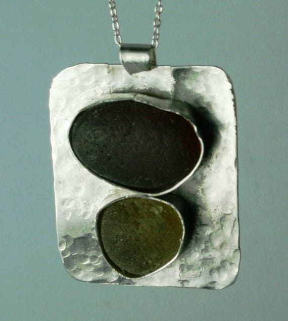 AUTUMNAL SEAGLASS PENDANT - Set in Sterling silver